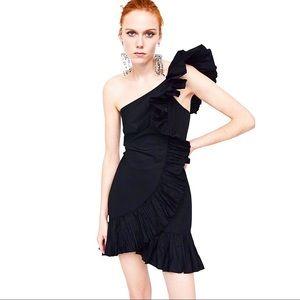 ZARA | Gathered Ruffles Black Dress